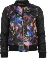 Golddigga Womens AOP Quilted Bomber Jacket Coat Top Long Sleeve Zip Full Print
