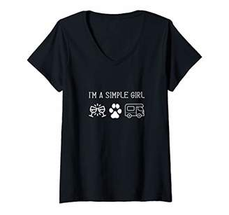 Womens I'm A Simple Girl Woman I Love Wine Cats Dogs Camping Gift V-Neck T-Shirt