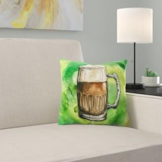 East Urban Home Beer Mug Indoor/Outdoor Throw Pillow East Urban Home