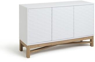 Argos Home Zander Textured Large Sideboard -White/Oak Effect
