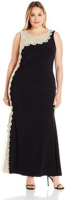 Xscape Evenings Women's Plus-Size Long Ity with Chemical Lace Side Back