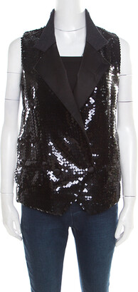 Dolce & Gabbana Black Sequined Double Breasted Vest S