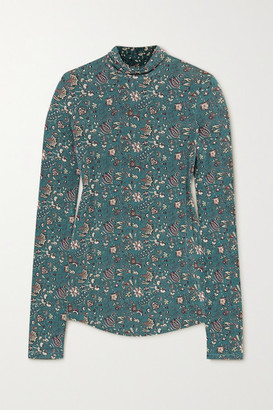 Isabel Marant - Goyela Floral-print Stretch-jersey Top - Dark green