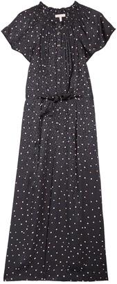 Rebecca Taylor Sleeveless Paint Dot Print Silk Blend Maxi Dress