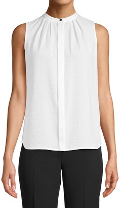 Anne Klein Front Pleat Sleeveless Blouse