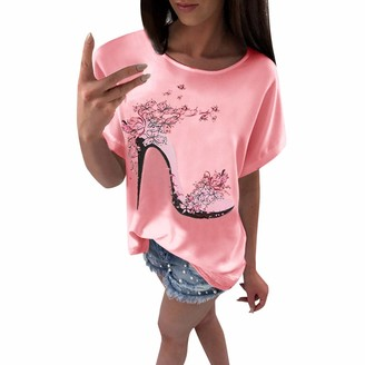 Lazzboy Women T-Shirt Top High Heels Printed Short Sleeve Fashion Casual Loose Ladies Tops Blouse(XL(12)