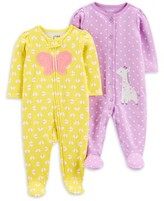 Carter's Child Of Mine By Child of Mine by Baby Girl Interlock Cotton Sleep 'N Play Pajamas, 2-Pack