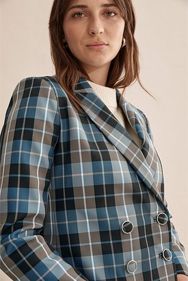 Country Road Crop Check Double Breasted Blazer