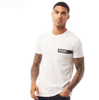 French Connection Mens Left Print T-Shirt White/Marine