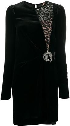 No.21 Leopard-Insert Velvet Mini Dress