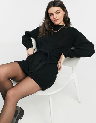 Glamorous long sleeve mini jumper dress with tie waist in black