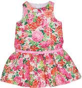 Florence Eiseman Sleeveless Floral Organza Dress, Pink, Size 4-6X