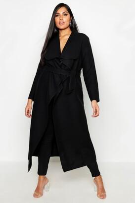 boohoo Plus Maxi Length Wool Look Wrap Coat