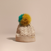 Burberry Wool Cashmere Beanie with Fur Pom-Pom