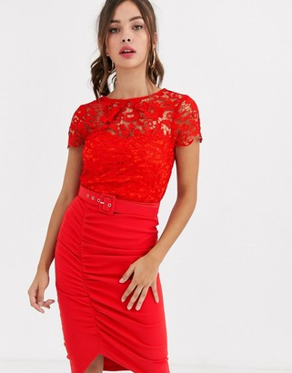 Paper Dolls belted lace midi dress in red