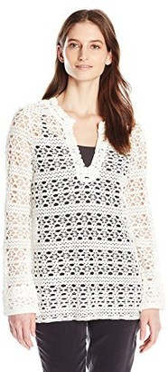 Dylan by True Grit Women's Cotton Crochet Long-Sleeve Tunic