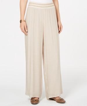 JM Collection Petite Metallic-Detail Wide-Leg Gauze Pants, Created for Macy's