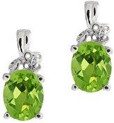 Gem Stone King 2.31 Ct Oval Green Peridot and White Diamond 14k White Gold Earrings