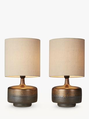 John Lewis & Partners Delaney Metallic Glaze Ceramic Table Lamp, Set of 2
