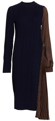 Sacai Pleated Detail Knit Sheath Dress