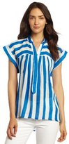 Plenty by Tracy Reese Women's Sheer Bold Stripes Easy Peasant