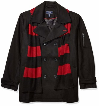 Izod Men's Big & Tall Double Breasted Wool Peacoat