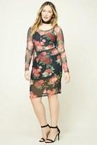 Forever 21 FOREVER 21+ Plus Size Floral Mesh Skirt