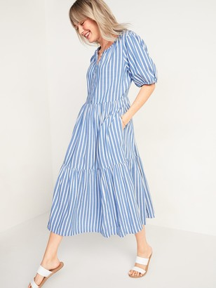Old Navy Waist-Defined Dobby-Stripe Midi Dress for Women