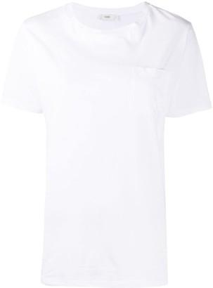 Closed plain chest pocket T-shirt