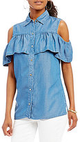 MICHAEL Michael Kors Cold Shoulder Ruffle Flounce Denim Shirt