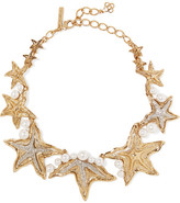 Oscar de la Renta Sea Star Gold And Silver-tone, Swarovski Crystal And Pearl Necklace - one size