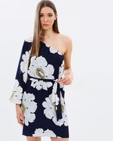 Warehouse Melody Floral One-Shoulder Dress