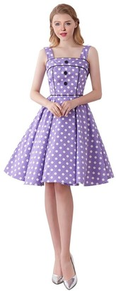 FiftiesChic Women's 100% Cotton Shoulder Straps 50s Inspired Vintage Rockabilly Party Dress (XL (US10/UK14/EU42)
