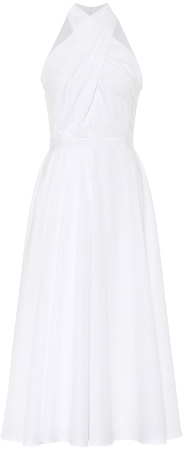 Alexander McQueen Bridal Halterneck cotton midi dress