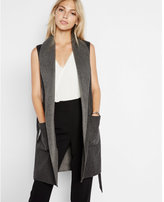 Express color blocked wool blend sleeveless coat