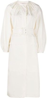 Jil Sander Belted Ruched Neckline Dress