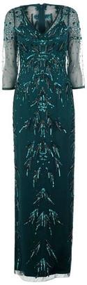 Adrianna Papell Long Beaded Mesh Dress