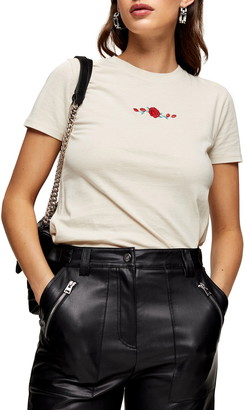 Topshop Embroidered Rose T-Shirt