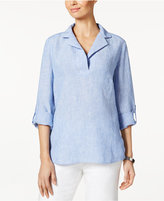 Charter Club Linen Striped Tunic, Created for Macy's