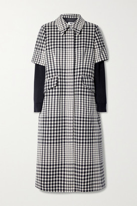 MM6 MAISON MARGIELA Layered Ribbed-knit And Checked Wool-blend Coat - Black