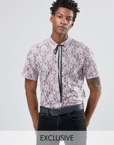 Reclaimed Vintage Lace Shirt With Neck Tie In Reg Fit