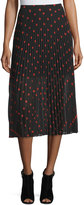 McQ by Alexander McQueen Pleated Polka-Dot Midi Skirt, Red/Black