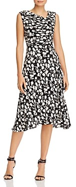 Adrianna Papell Floral Print Asymmetric Neck Midi Dress