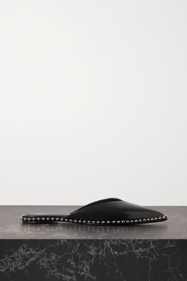 Alexander Wang Mira Studded Glossed-leather Point-toe Flats - Black
