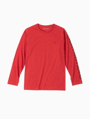 Calvin Klein Little Boys Logo Crewneck Long Sleeve Tee