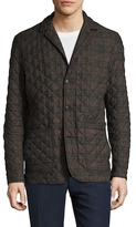 Isaia Quilted Plaid Buttoned Jacket