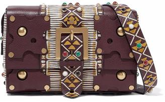 Valentino Embellished Textured-leather Shoulder Bag