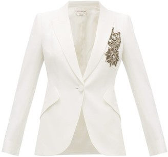 Alexander McQueen Single-breasted Embroidered Leaf-crepe Jacket - Womens - Ivory