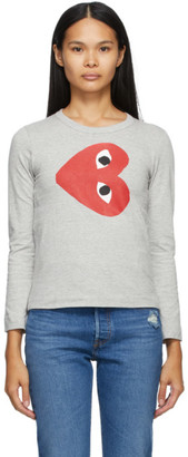 Comme des Garcons Grey Horizontal Heart Long Sleeve T-Shirt