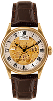 Rotary Gs02941/03 Skeleton Leather Strap Watch, Brown/champagne